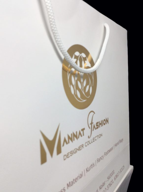 Designer Gold foil Stamped Paper Bags for Mannat Fashions | Bangalore Roopac