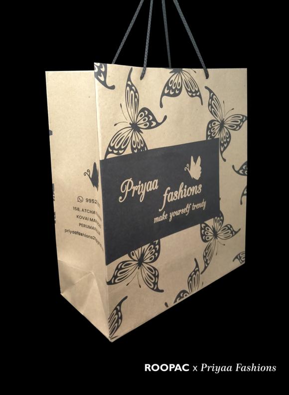 Roopac paper bags for Priyaa Fashions permanallur